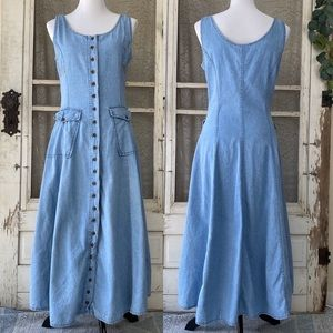 Vintage Denim Jean Button Front Midi Dress S/M